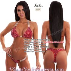 Heavy Crystal Sequin Design with swarovski crystal outline, the ultimate competition bikini.