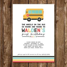 The Wheels on the Bus themed birthday invitation, cupcake topper (3 colors and designs included) and a bunting banner design. This invite is perfect for the next birthday party you throw. Once purchased, we will customize the information, and size for you and then email you the customized digital files. *Full Package includes: Single or Double sided invite, cupcake toppers, and banner. ******************************************************************************** Upon purchase you will…
