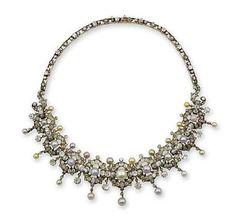 A pearl and diamond necklace, circa 1860. photo Bonhams