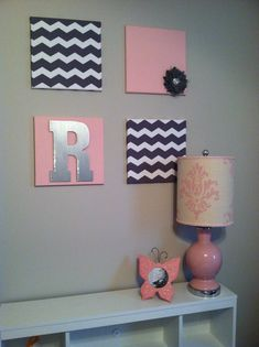 12x12 canvas wrapped in material. Toddler girl bedroom decor DIY project. Chevron and pink