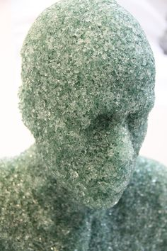 New York based artist Daniel Arsham (previously here, here and here) recently completed a number of new works, most notably these three figurative sculptures made from compacted broken glass, inspired by the discovery of glass shards in his home after hurricane Andrew in 1992. Other new