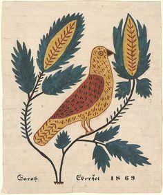 Drawing for Sarah Ebersol - Fraktur Folk Art Flowers, Flower Art, Antique Illustration, Illustration Art, Colonial Art, Wool Embroidery, Hand Logo, Primitive Folk Art, Painted Books