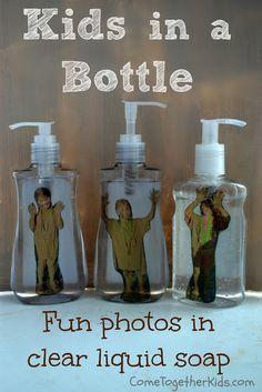 Geschenkideen Weihnachten – Funny photo idea ~ put kid's picture in a bottle of liquid hand soap – Ideen Dekorieren Mothers Day Crafts For Kids, Diy For Kids, Baby Crafts, Fun Crafts, Cadeau Parents, Photo Bookmarks, Liquid Hand Soap, Photo Craft, Bottle Crafts