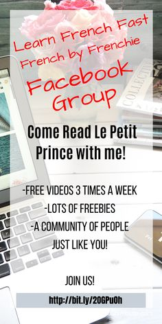 I will be reading Le Petit Prince to you guys! I'm going to start next Wednesday at 8 am and go from there. 🙏  I haven't been reading in French in a while😭.  Feel free to share with friends or people that may like this idea or just hang out with us if you like this beautiful language as much as I do.  Please sign up for the event on my Facebook Page and don't forget to sign up to my FB Group where I will be reading for you... Learn French Free, Read In French, Don't Forget, Wednesday, Language, Sign, Facebook, Group, Guys