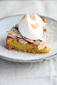 Journal de Cuisine: Almond Pear Cake with Cream Serves 8 Preparation...