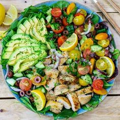 Lemon Herb Mediterranean Chicken Platter Pin it! https://cleanfoodcrush.com/lemon-herb-mediterranean-chicken-platter/ {Fit for entertaining this weekend!} 2-3 servings  Marinade/Dressing:  2 Tbsp olive oil  juice from 1 fresh lemon  2 Tbsp dried parsley  2 Tbsp dried basil  2 Tbsp garlic, minced  1 tsp salt  cracked pepper, to taste (1 pound) 4 skinless, boneless chicken thigh fillets  Salad:  4 cups Romaine (or mixed) lettuce leaves, washed and dried  1 large cucumber, diced  1 cup cherry…