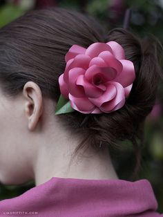 Paper Rose Hair Flower