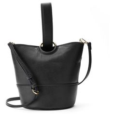 LC Lauren Conrad Lili Loop Crossbody Bucket Bag (£33) ❤ liked on Polyvore featuring bags, handbags, shoulder bags, black, handbags crossbody, hand bags, faux leather crossbody, crossbody shoulder bag and crossbody purses