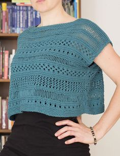 Free knitting pattern for Cancun Boxy Lace Top Erin Kate Archer's lace-sampler top is knit in two simple rectangles from the bottom up and seamed. The designer says it is very suitable for beginners and it has an easy rating from knitters