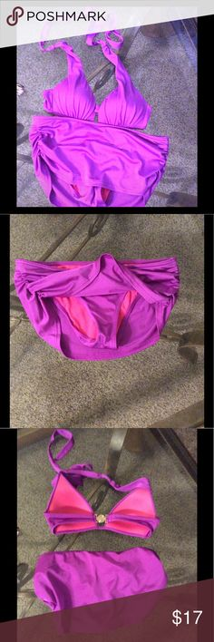 VS swim wear Purple vs swim set. Top is lightly padded, size small. Bottom is overlayed with a rouched skirt look, size x-small. Ties at the neck and clips in the back. Victoria's Secret Swim Bikinis