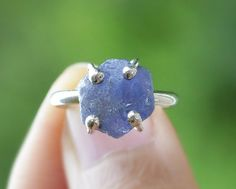 Uncut Rough Blue Sapphire Sterling Silver Ring  by emarcidorchid, $125.00