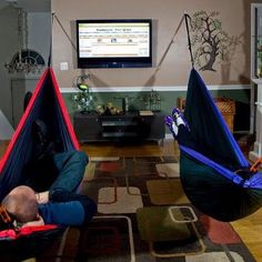 ENO Hammocks not just for the outdoors! Relaxation can occur anywhere