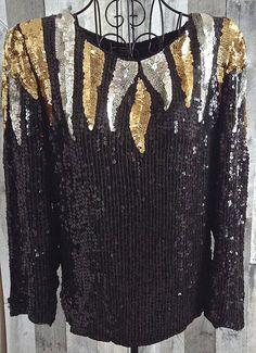 Vintage Joseph Le Bon Sequin Beaded Top Blouse 100% Silk Black Sparkle Small…