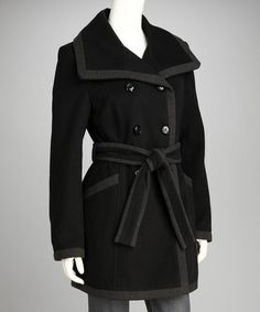 Take a look at this Black & Charcoal Wool-Blend Peacoat by Kenneth Cole on #zulily today! $85 !!
