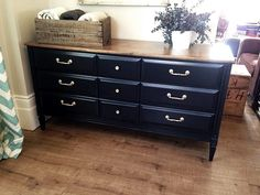 Repurposed Gems: Navy and Gold Vintage Dresser