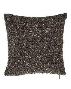 "H7HLW Donna Karan Home Beaded Charcoal Pillow, 10""Sq."