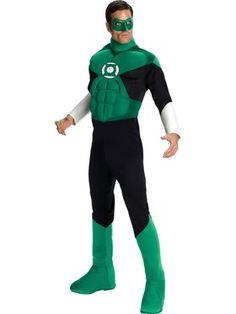 Men's Deluxe Muscle Chest Green Lantern Costume