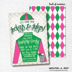 Kentucky Derby party invitation - jockeys and juleps party invitation - horse racing party by misspokadot on Etsy