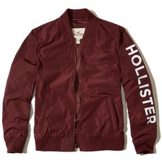 Hollister Graphic Nylon Bomber Jacket (2.865 RUB) ❤ liked on Polyvore featuring men's fashion, men's clothing, men's outerwear, men's jackets, burgundy, mens burgundy jacket, mens nylon bomber jacket, mens burgundy bomber jacket, mens nylon jacket and mens bomber jacket