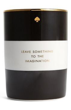 """Free shipping and returns on kate spade new york 'imagination' scented candle at Nordstrom.com. A stylish porcelain base with a logo spade houses an amber-scented candle printed with the words, """"Leave something to the imagination."""" Repurpose the base later as a vase or coin bowl."""
