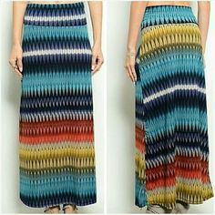 "Fold over waist maxi skirt Size Small 7/8 NWT Trendy maxi skirt with a fold over waistband. Size Small. Fits ladies 7/8. 28"" waist. 37"" Long. Silky smooth medium weight polyester fabric. Not sheer or see through. Made in the USA. Brand new with tag. Jill Marie Boutique Skirts Maxi"