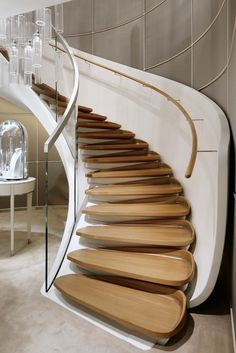 Interior stairs design 36 ideas for 2019 Contemporary Stairs, Modern Contemporary Homes, Modern Stairs, Modern Decor, Stair Handrail, Staircase Railings, Stairways, Wooden Staircases, Spiral Staircases