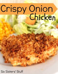 Crispy Onion Chicken from SixSistersStuff.com.  A quick and easy recipe that your family will love! #dinner #chicken #recipes