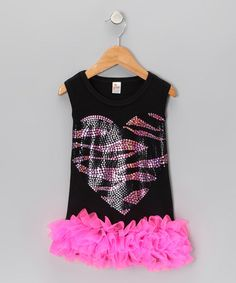 Take a look at this Black Zebra Heart Ruffle Dress - Infant, Toddler & Girls by The Princess and The Prince on #zulily today!