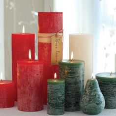 Vance Kitira candles burn cleanly for hours and hours. They are unscented they work on the dining room table, but they look good on a mantle or anywhere else you might want that warm glow.  www.surroundingshome.com