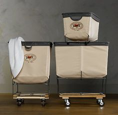 obsessed with these laundry carts. i think they would make washing piles of clothes so much more fun!