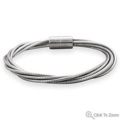 Wholesale Sterling Silver Jewelry | Silver Stars Collection Multistrand Stainless Steel Omega Bracelet