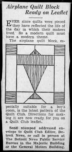 Airplane Quilt Block Ready on Leaflet, Detroit News