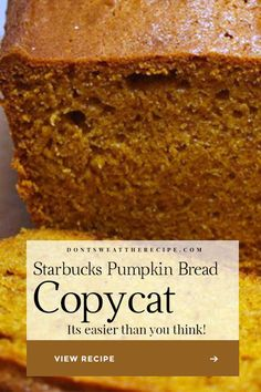 Starbucks Pumpkin Bread Recipe Copycat - Better than Starbucks! Moist, tender, and loaded with pumpkin fall flavors. Starbucks Pumpkin Bread Recipe Copycat - Better than Starbucks! Moist, tender, and loaded with pumpkin fall flavors. Best Pumpkin Bread Recipe, Starbucks Pumpkin Bread, Pumpkin Puree Recipes, Pumpkin Loaf, Moist Pumpkin Bread, Homemade Pumpkin Puree, Pumpkin Oatmeal, Pumpkin Chocolate Chips, Baked Pumpkin