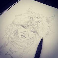 Egyptian wolf headdress Tshirt design… #girl #headdress #wolf #sunandmoon #thirdeye #tattoo #gborn #gimiks #gborntattoo #gimiksborn #l...