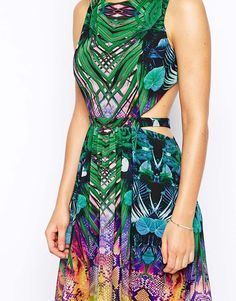 Image 3 ofForever Unique Tropical Mirror Print Maxi Dress With Open Back