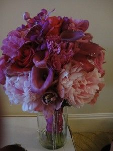Really romantic red, pink and purple flower bouquet