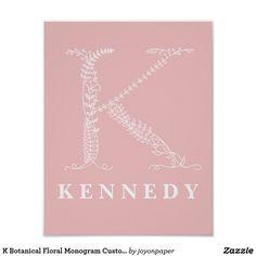 K Botanical Floral Monogram Custom Nursery Poster