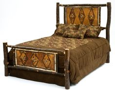 hickory logs with bark are handcrafted into a unique camp style log bed for cabin lodge rustic home decors made in usa made in michigan furniture bark furniture