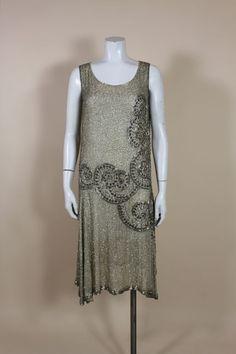 1920's Metallic Beaded Ivory Cotton Flapper Dress 2