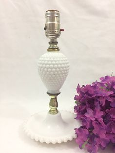 Vintage White Milkglass Hobnail Bedroom Table Lamp by LakesideVintageShop on Etsy