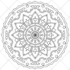Printable Mandala Coloring Page for Adults N.3 | Adult Coloring | A4, A3, Letter, legal, tabloid PDF #etsy #mandala #printable |  Mandala in black and white to print and color for kids and adults. It's useful for family fun and to relieve stress with color therapy.