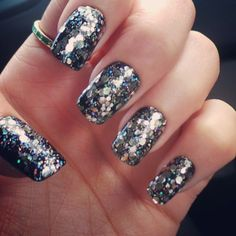Black Glitter Nails by Aubs