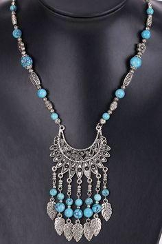 collar etnico turquesa