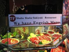 We have Engrish Menu. Polish To English, Asian Humor, Weird Food, Crazy Food, Shabu Shabu, Food Signs, Menu Items, Having A Bad Day, Menu Restaurant