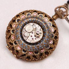 Steampunk Pocket Watch Necklace, Steampunk Compass Necklace, Steampunk Locket Necklace by DesignsBloom on Etsy