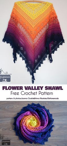 Trendy Ideas For Crochet Flowers Shawl Patterns Crochet Shawl Free, Crochet Shawls And Wraps, Crochet Mittens, Knitted Shawls, Crochet Scarves, Crochet Pattern, Knitting Patterns, Free Pattern, Lace Shawls