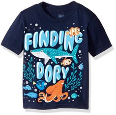 Disney Little Boys Toddler Finding Dory Under the Sea Short Sleeve TShirt Navy 4T *** Want additional info? Click on the image. #feature