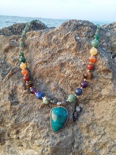 one of a kind Pendant on Seven Necklace, Spiritual, yoga, boho, zen Chakra Necklace, Necklace Charm, Gemstone Necklace, Turquoise Necklace, Boho Jewelry, Women Jewelry, Sculpting, Zen, Meditation