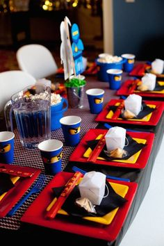 These clever Ninjago party place settings make for wonderful table decorations.