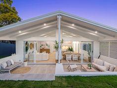 Incredible home transformation in Brisbane. Alfresco Area, Outdoor Living Rooms, Hamptons House, Dream House Exterior, Facade House, Outdoor Areas, Outdoor Entertaining, Backyard Patio, Home Reno